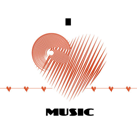 I love music abstract poster label isolated on white background with cardio heart wave deflection. CD-disk and heart red logo graphic design element. Vector illustration for your print Çizim