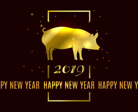 Happy Chinese new Year 2019 greeting card on black background. Year of the Pig gold symbol silhouette on the Chinese calendar. Vector illustration with simple gold frame Stock Illustratie