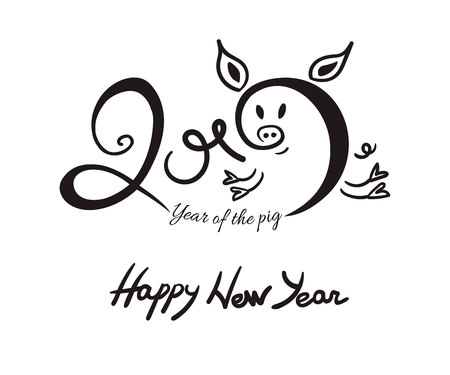 2019 New Year lettering with black ink doodle pig isolated on white background. Vector illustration