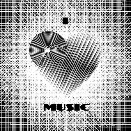 I love music abstract poster monochrome label on dirty grunge halftone background. CD-disk and heart logo graphic design element. Vector illustration
