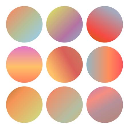 Autumn circle gradient mesh backgrounds isolated on white set. Vector illustration for modern fluid fall design Stock Illustratie