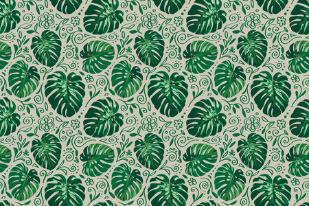 Seamless horizontal monstera palm leaves pattern with doodle line elements around for your summer background. Vector tropical illustration