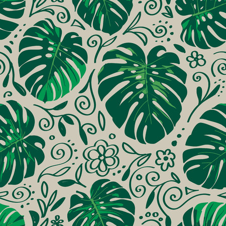 Seamless monstera palm leaves pattern with doodle line elements around for your summer background. Vector tropical illustration