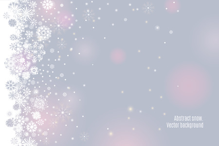 Falling snow border on a light tender silver grey background. Abstract winter lights blurry background for your Merry Christmas and Happy New Year design. Vector illustration