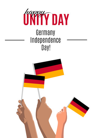 Happy Germany Unity Day placard, poster or greeting card. Text and hands with german flags isolated on white vertical banner. Vector illustration of Germany Independence Day