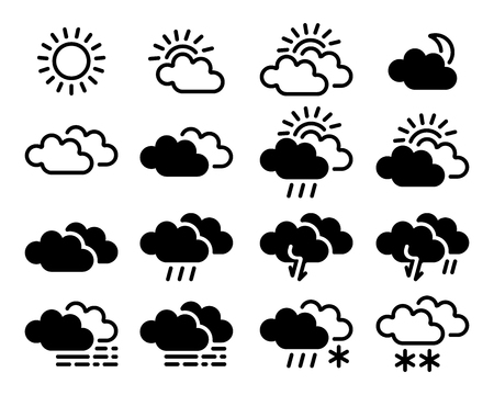 Weather simple icons collection isolated on white background. Vector monochrome  illustration for your weather forecast design Stock Illustratie