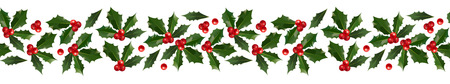 Merry Christmas and Happy New Year seamless holly pattern border isolated on white background for your holiday decoration design. Vector illustration Stok Fotoğraf - 109742991