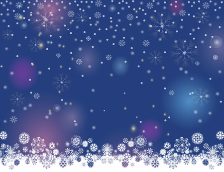 Falling snow magic border on a dark blue background. Abstract winter night lights blurry background for your Merry Christmas and Happy New Year design. Vector holiday illustration. Place for your text Çizim