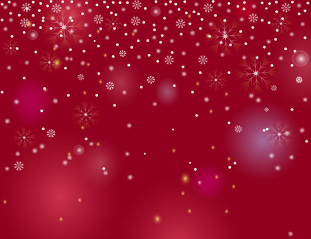 Falling snow border on a red  background. Abstract winter lights blurry background for your Merry Christmas and Happy New Year design. Vector holiday illustration. Place for your text
