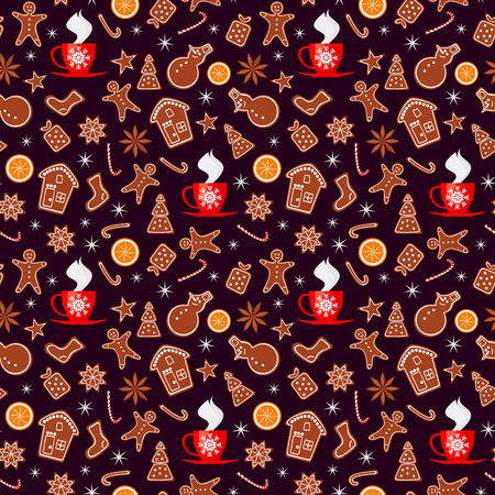 Merry Christmas and Happy New Year seamless pattern with gingerbread cookies, orange, sparkles and cup of tea isolated on brown background. Vector illustration for winter holiday design in flat style Çizim