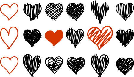Doodle black and red heart icons isolated on white background set for your Valentines day design. Vector hand drawn sketch illustration Stok Fotoğraf - 111295954
