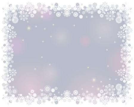 Snow white frame on a blurry light gray background. Abstract winter background for your Merry Christmas and Happy New Year frame design. Vector illustration Stok Fotoğraf - 111295957