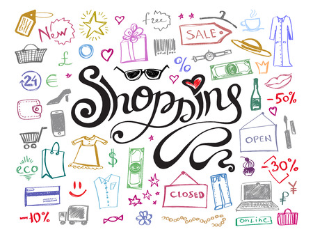 Hand drawn shopping lettering with doodle colorful line icons pattern.  Abstract sale or offer background. Vector illustration