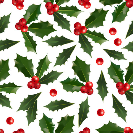 Merry Christmas and Happy New Year seamless pattern with holly berries isolated on white background. Abstract background for Christmas decoration. Vector winter holiday floral illustration
