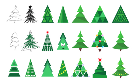 Christmas tree icons collection isolated on white background. Decoration set for Merry Christmas and Happy New Year.  Vector illustration for winter holiday design Çizim