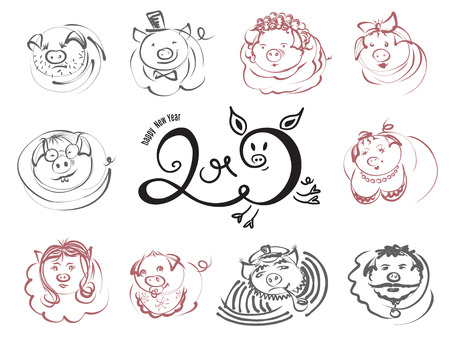 Doodle pigs and boars character icons for Chinese New Year 2019. Vector sketch line illustration for cute funny holiday design