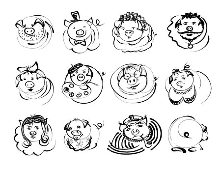 Doodle pigs and boars character icons for Chinese New Year 2019. Vector sketch line illustration for cute funny holiday avatar design: baby, girl, gentleman, artist, captain, skipper, four-eye Çizim