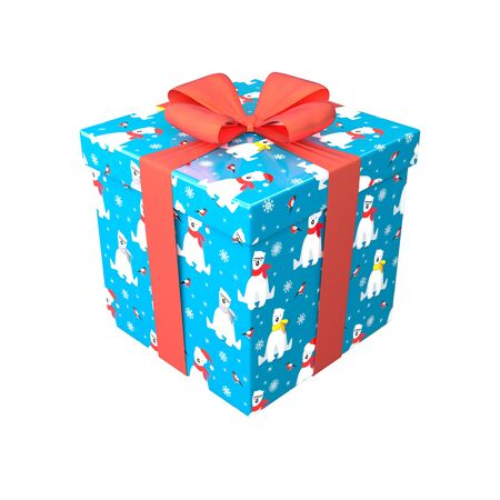Gift box in blue, red and white color with red bow and ribbon. Surprise in wrapping paper with Merry Christmas and Happy New Year pattern with polar bear and bullfinch. Winter holiday 3d render design