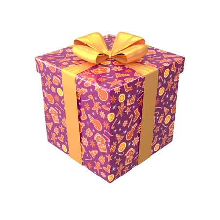 Gift box in brown or purple colors with yellow bow and ribbon. Surprise in wrapping paper with Merry Christmas and Happy New Year pattern with ginger cookies. Winter holiday 3d render design
