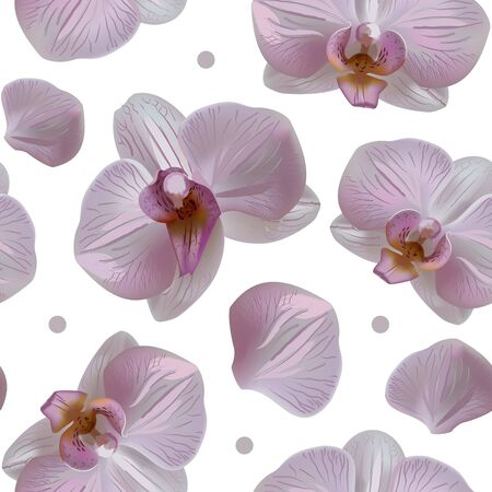 Tender orchid floral seamless pattern with blooms, petals and dots isolated on white background. Orchid flower abstract nature illustration