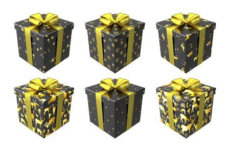 Black and gold gift boxes isolated on white background with gold bows and ribbons. Merry Christmas and Happy New Year colorful trendy set. Winter holiday collection design