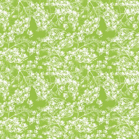 Spring nature plant background. Green and white dill seamless pattern in pastel colors Stok Fotoğraf - 133455264
