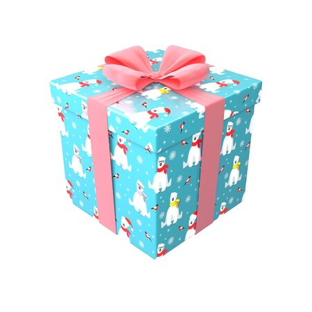 Gift box in blue, red and white color with pink bow and ribbon. Surprise in wrapping paper with Merry Christmas and Happy New Year pattern with polar bear and bullfinch. Winter holiday 3d render Stok Fotoğraf - 133455265