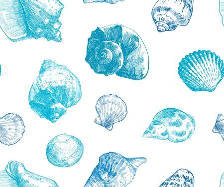 Seashells seamless pattern for your ocean life design. Elegant sea shells background. Summer template collection  illustaration Stok Fotoğraf