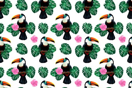 Nature colorful jungle seamless pattern with toucan bird sitting on branch around palm monstera leaves and flowers on white background. Tropical exotic illustration for your summer design