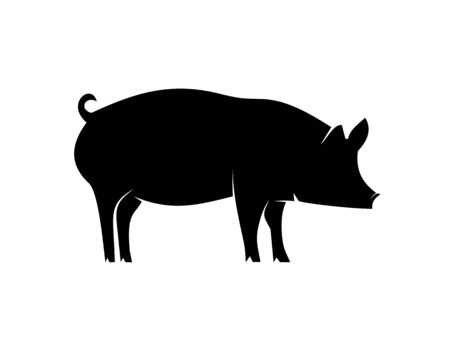 Pig animal black icon silhouette isolated on white background. Wild boar symbol of Chinese New Year 2019. Vector illustration