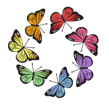 Rainbow butterflies wreath isolated on white background. Elegant circle frame from monarch butterflies for your summer design. Vector birthday illustration Stok Fotoğraf - 126389614