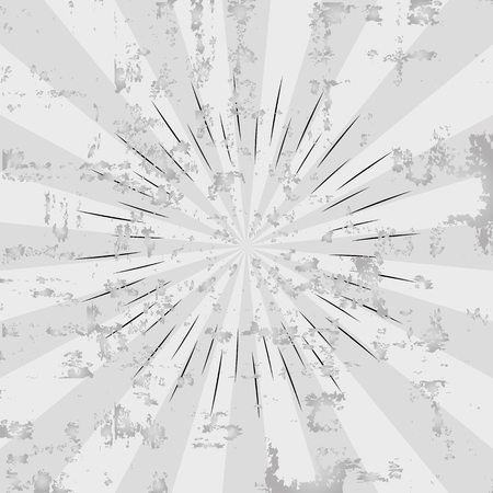 Vintage sunburst poster background. Radial element pattern backdrop. Retro sunburst or starburst. Gray grunge rays texture for your design. Sunlight placard. Vector illustration Stok Fotoğraf - 126389615