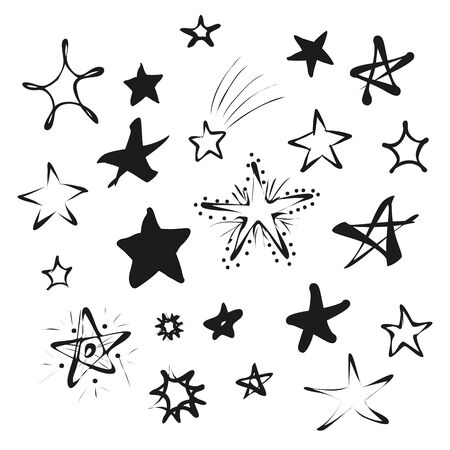 Doodle black stars icons isolated on white background set. Hand drawn stars different shapes for your patterns or baby design. Vector illustration for graphic elements Stok Fotoğraf - 133495981