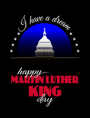 Happy Martin Luther King Day placard, poster or greeting card. Text and Washington DS capitol white house isolated on black vertical banner. Vector illustration for MLK day