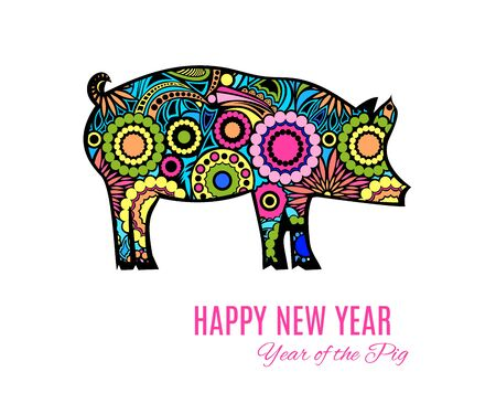 Ornamental pig or wild boar a symbol of the 2019 Chinese New Year isolated on white background. Template design for greeting cards, calendars, banners, posters. Vector illustration for Asian holiday Stok Fotoğraf - 133564161