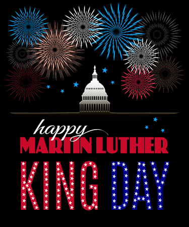 Happy Martin Luther King Day placard, poster or greeting card. Text, fireworks and Washington DS capitol isolated on black vertical banner. Vector illustration
