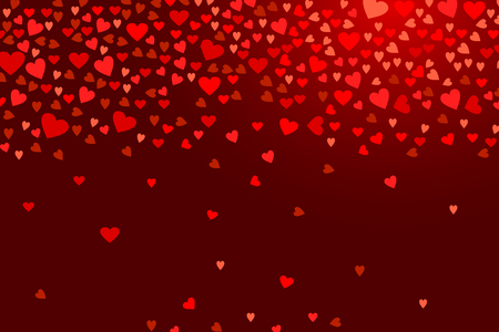 Abstract love background for your Valentines Day greeting card design. Red Hearts isolated on dark wine background. Vector horizontal illustration Stok Fotoğraf - 115185338