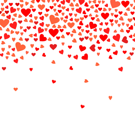 Abstract love background for your Valentines Day greeting card design. Red Hearts isolated on white background. Vector illustration Çizim