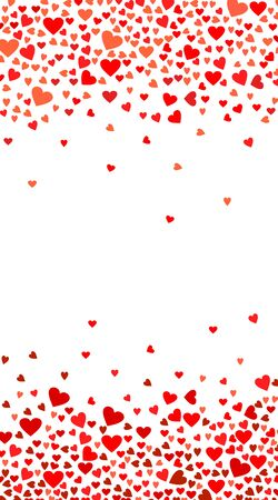 Abstract love background for your Valentines Day greeting card design. Red Hearts isolated on white background. Vector vertical illustration