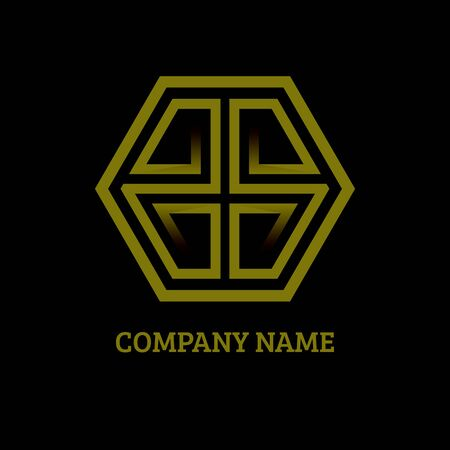 Gold luxury Letters G and S logo icon with business card template isolated on black background. Vector illustration for your startup