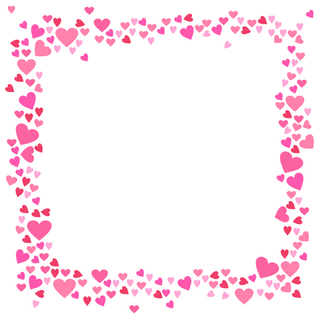 Abstract love for your Valentines Day greeting card design. Rose pink Hearts frame isolated on white background. Vector illustration Çizim