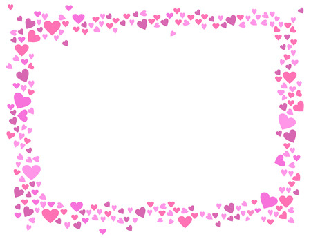 Abstract love for your Valentines Day greeting card design. Pink rose Hearts horizontal frame isolated on white background. Vector illustration