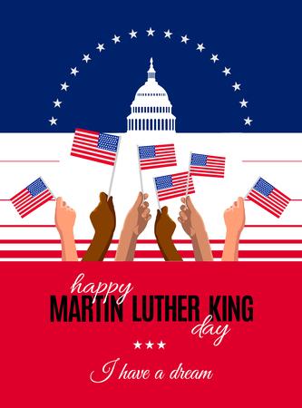 Happy Martin Luther King Day Plakat, Poster oder Grußkarte. Text und Washington DS Capitol White House und Hände mit USA-Flaggen. Vektorillustration für den MLK-Tag Vektorgrafik