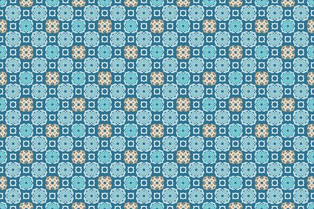 Arabesque islamic blue seamless pattern. Illustration for your arabic horizontal background design Stok Fotoğraf - 133685639