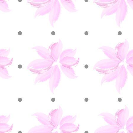 pink flower seamless pattern. Polka dot elegant floral  background texture