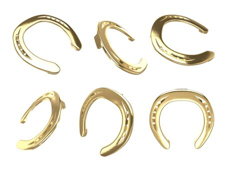 Golden horseshoes different views isolated on white background collection for st. Patricks day design. Vector 3d rendering illustration for irish holiday