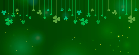 Clover shamrock leaves hung on strings on dark green background. Abstract St. Patricks day border horizontal panorama background with place for your text for your greeting cards design or poster. Vector illustration