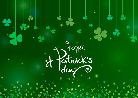 Beautiful clover shamrock leaves banner template for St. Patricks day design or greeting card. Vector illustration with white lettering , clover on strings and sparkles on green background