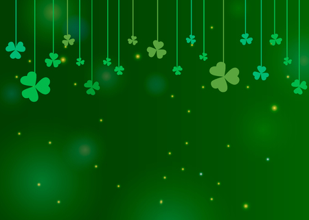 Clover shamrock leaves hung on strings on dark green background. Abstract St. Patricks day border background with place for your text for your greeting cards design or poster. Vector illustration
