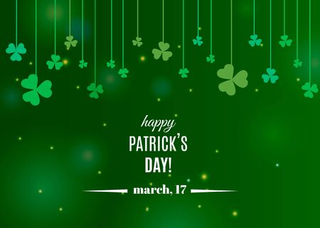 Beautiful clover shamrock leaves banner template for St. Patrick's day design or greeting card. Vector illustration with white lettering  and clover on strings on green background Stok Fotoğraf - 133685646